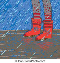Vektor illustriert heftigen Regen, Gummistiefel
