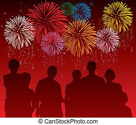Vektor illustriert Leute, die ein buntes Feuerwerk sehen