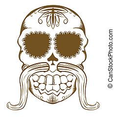 Vektor illustriert Zuckerschädel mit Schnurrbart