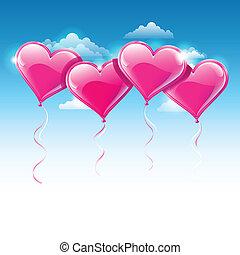 Vektor illustrierte Herzballons auf einem blauen Himmel