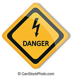 Vektor-Illustriertes Etikett mit Elektrizitätsgefahr