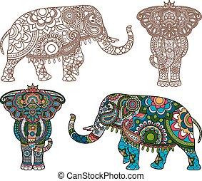 vektor, indischer elefant
