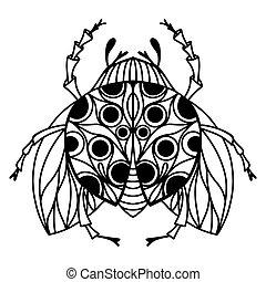 vektor, insekt, ihr, linear, ladybug., buch, zurück, abbildung, klein, erwachsene, reizend, schwarz, teenagers., wings., flecke, weißes, färbung, kinder, skizze, details.