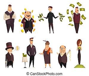 vektor, karikatur, baden, businesswoman., leute., seine, businessmans, erfolgreich, sehr, glücklich, honigraum, geld, reich, satz, völker