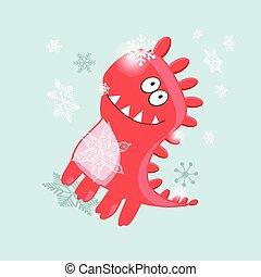 vektor, karte, heiter, weihnachten, dinosaurierer