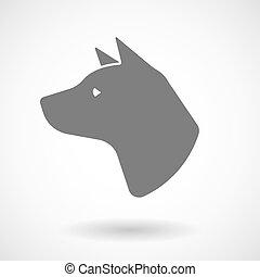 vektor, kopf, hund, freigestellt, abbildung