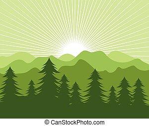 vektor, landschaftsbild, berg, kiefern, baum, design, abbildung