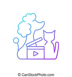 vektor, linear, steigung, ikone, videos, haustier