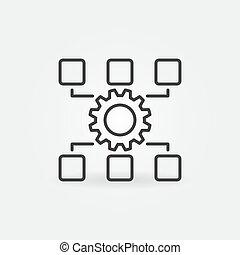 vektor, linear, wartung, begriff, ikone