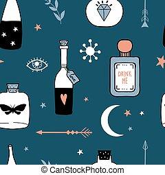 vektor, magisches, muster, karikatur, hexe, seamless, flaschen