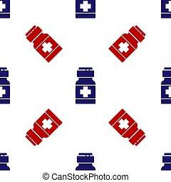 vektor, muster, rotes , tablette, vitamin, pillen, antibiotikum, hintergrund., paket, flasche, droge, weißes, aspirin., blaues, freigestellt, seamless, medizinprodukt, medizin, ikone