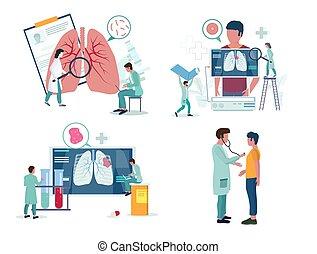 vektor, pulmonology, atmungs, oder, satz, medizinprodukt, ikone, abbildung