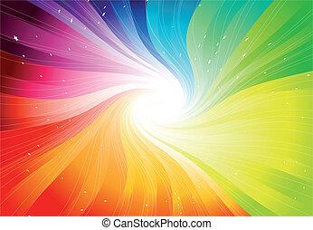 vektor, regenbogen, starburst, gefärbt
