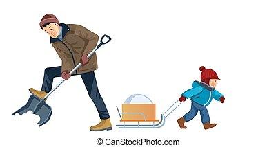 vektor, reinigt, karikatur, yard., schnee, begriff, wohnung, draußen, junge, vater, zusammen., arbeit, child-rearing., abbildung, vaterschaft, glücklich, activity., freigestellt, sohn, vati, family.