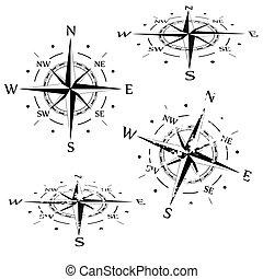 vektor, satz, grunge, kompaß