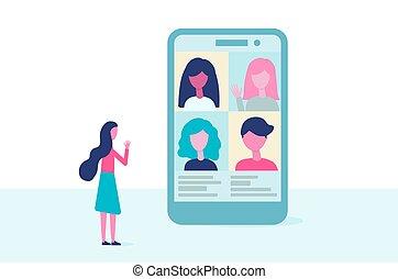 vektor, schirm, arbeit, entfernt, versammlung, design., leute, video, bildung, conference., virtuell, wohnung, kommunikation, telefon, concept., gruppe, online, reden.