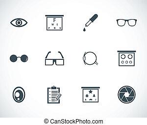 Vektor, schwarze Optometrie-Ikonen eingestellt