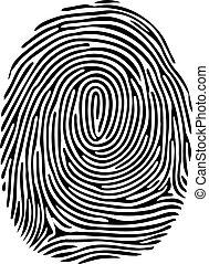 Vektor Schwarzer isolierter Fingerabdruck auf weißem Hintergrund