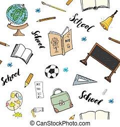 vektor, seamless, doodles, muster, handdrawn, abbildung, schule