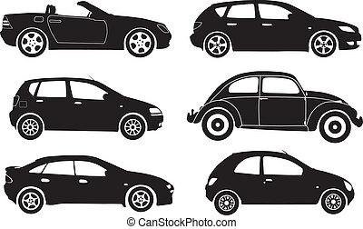 vektor, silhouette, autos