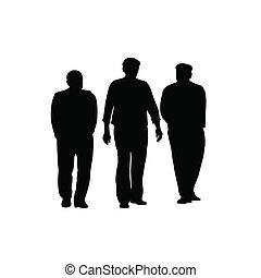vektor, silhouette, gehen, drei männer