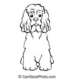 vektor, sitzen, hund, lustiges, skizze