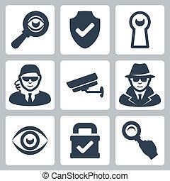 Vektor-Spion und Sicherheits-Ikonen eingestellt: Vergrößerungsglas, Schutzschild, Sicherheitsmann, Überwachungskamera, Spion, Auge, Schloss