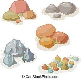 vektor, stein, satz, sammlung, gestein