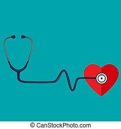 vektor, stethoscope., medizin, hintergrund, illustration.