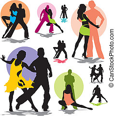 Vektor-Tanz Paar Silhouette