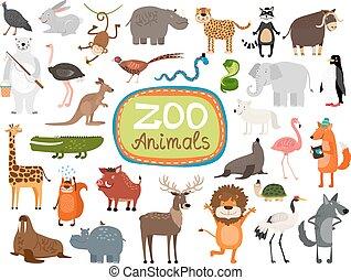 vektor, tiere, zoo