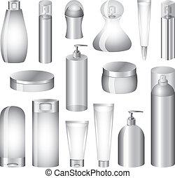 vektor, verpackung, satz, flaschen, kosmetikartikel