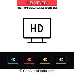 vektor, video, dünne linie, icon., hd, ikone