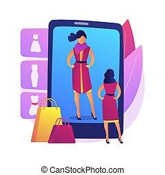 vektor, virtuell, umkleideraum, illustration., begriff, abstrakt