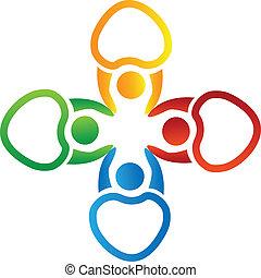 Vektor von Leuten, die das Logo der Hand halten.