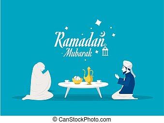 vektor, vorher, illustrator., gott, fasten, essen, kareem, gebet, ramadan, leute