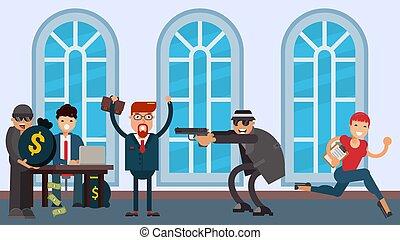 vektor, wohnung, bank, pistole, bedrohen, illustration., raub, hüte, brille, verbrecher