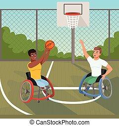 vektor, wohnung, basketball, rollstühle, zaun, disabilities., court., himmelsgewölbe, sport, hintergrund., sportler, lifestyle., aktive, büsche, athleten, spielende , ball., physisch