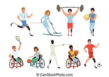 vektor, wohnung, lifestyle., bunte, nehmen, maenner, sport, disabilities., frauen, fester entwurf, teil, aktive, verschieden, lächeln, games., athleten, paralympics, physisch