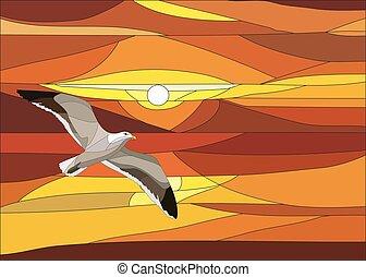 vektor, wolkenhimmel, sonnenuntergang, befleckt, fenster., glas, abbildung