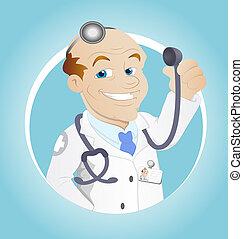 vektor, zeichen, karikatur, doktor