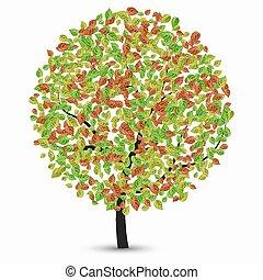Vektorbaum mit Blättern auf weiß.