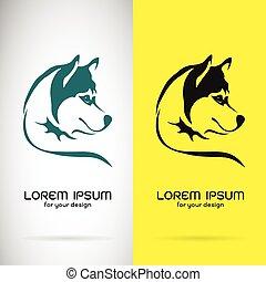 Vektorbild eines Hundes siberianisches Husky Design auf weißem Hintergrund und gelbem Hintergrund, Logo, Symbol.