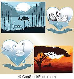 Vektorbilder auf romantischem und natürlichem Thema.