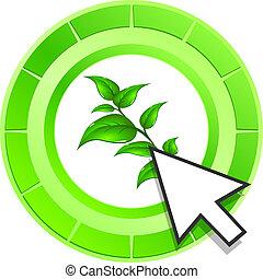 Vektorblatt Icon Green Button.