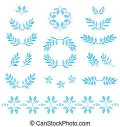 Vektorfarbene Blätter, Abzeichen, Blumenelemente, Kranz und Lorbeer. Vector Illustration. Hübsche Sammlung aus handgezeichneten Blättern und Blumen. Vintage für Einladungen.