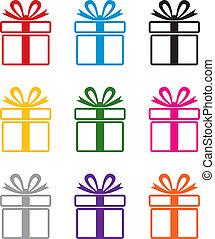 Vektorfarbene Geschenkkastensymbol