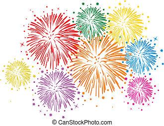 Vektorfarbenes Feuerwerk im weißen Hintergrund