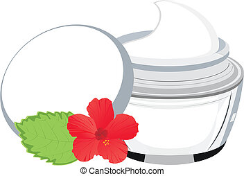 Vektorglas mit Sahne, Hibiskus und Blatt