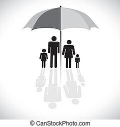 Vektorgrafisch-Familienschutz (Versicherung) & Schirmsymbol. Die Grafik zeigt Familie von vier (Vater, Mutter, Sohn & Tochter) mit Spiegelung in einer Sonnenschirm-Ikone.